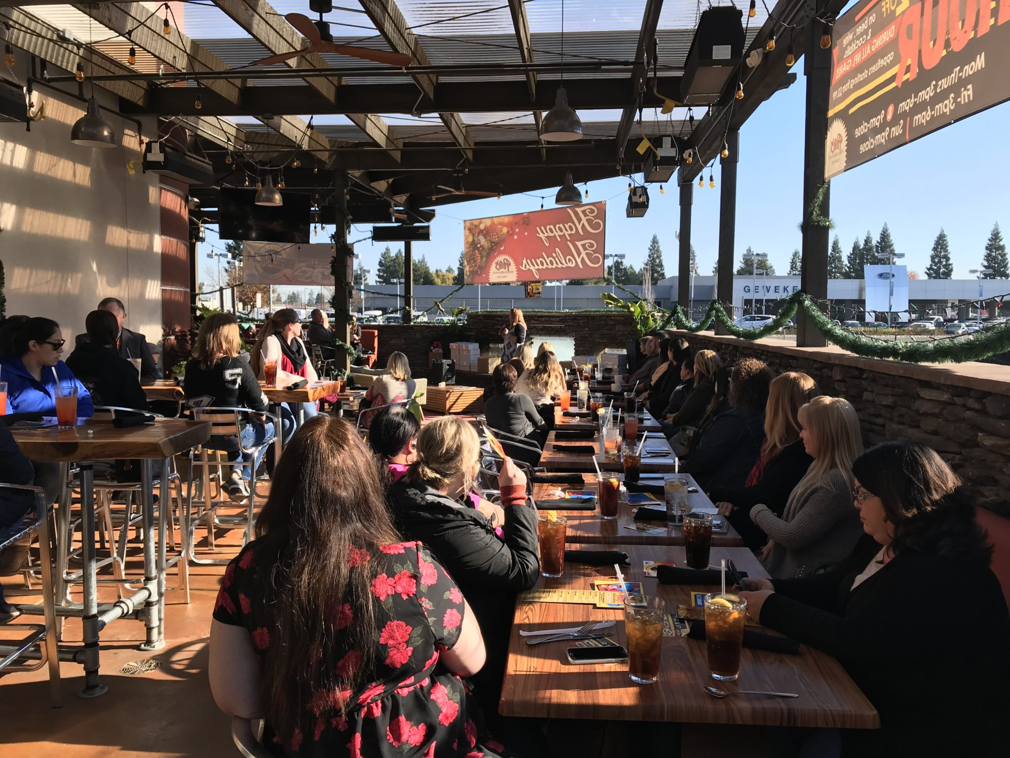 Pete's outdoor seating area makes a nice venue for parties, lunch meetings and gatherings.